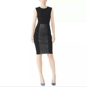 Monika Chiang gray leather panel dress 6 sleeveles